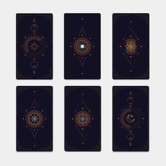 Geometric mystic symbols set