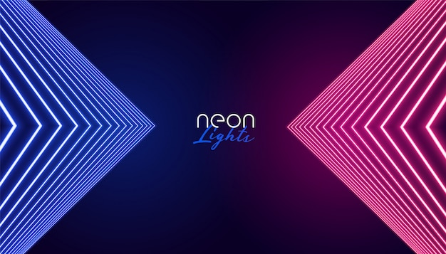 Geometric neon lights abstract background