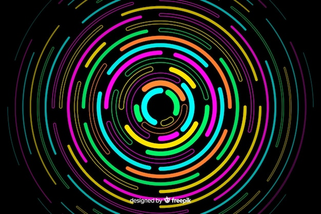 Geometric neon round shapes background