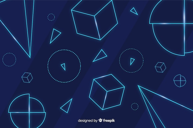 Geometric neon shapes blue background