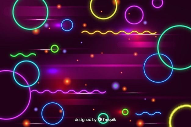 Geometric neon shapes decorative background