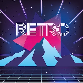 Geometric neon style and ice mountains background