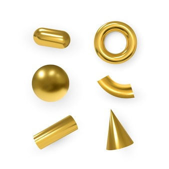 Geometric objects. isolated metallic gold shapes..