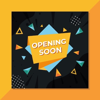 Geometric opening soon background