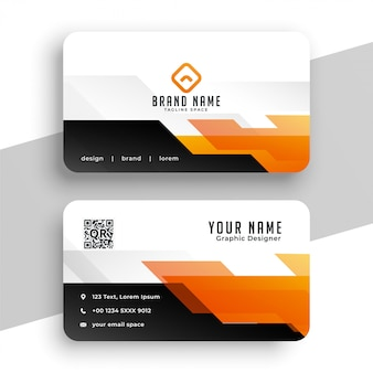 Geometric orange professional business card  template