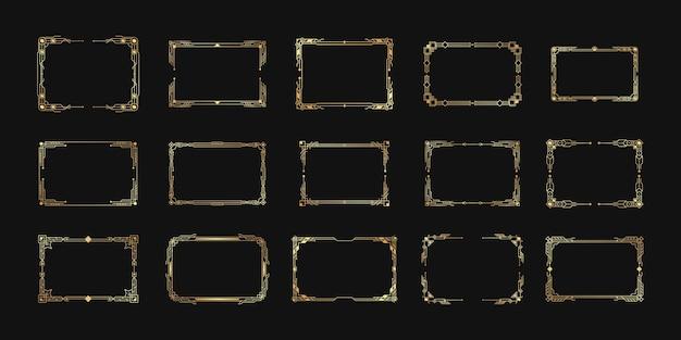 幾何学的な華やかな境界線とフレームセット