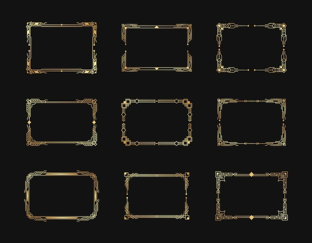 Geometric ornate borders and frames elements in luxury retro 1920s style.
