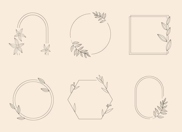 Геометрическая рамка с цветком, листьями и ветвями