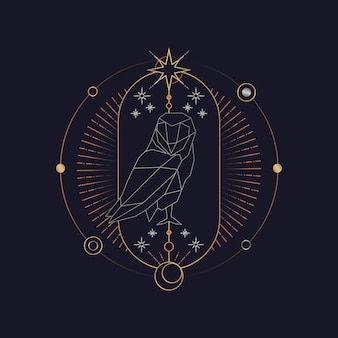 Geometric owl astrological tarot card