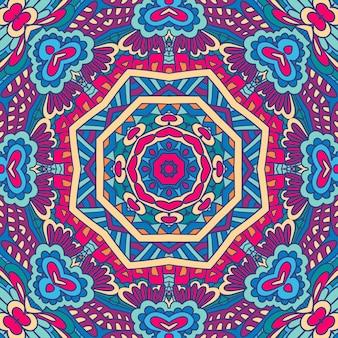 幾何学的なペイズリーメダリオンパターン民族曼荼羅飾り