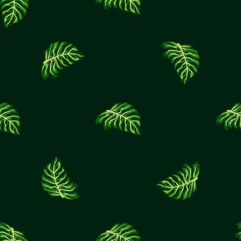 緑の怪物の葉の形をした幾何学的なヤシの葉のシームレスなパターン。エキゾチックな背景。テキスタイル、ファブリック、ギフトラップ、壁紙のフラットベクタープリント。無限のイラスト。