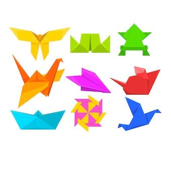 幾何学的な紙の動物や鳥のイラスト