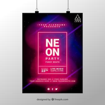 네온 스타일과 기하학적 파티 포스터