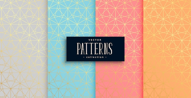 Geometric pastel color gold pattern set of four