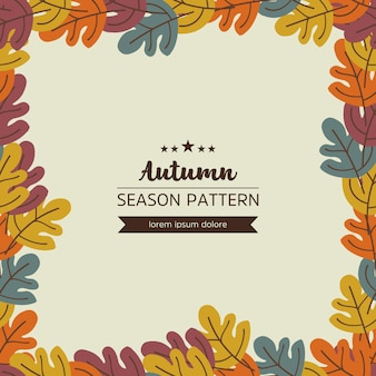 Geometric pattern of autumn leaves and twigs