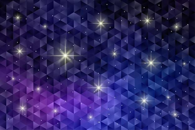 깜박이 별 빛으로 기하학적 패턴 배경입니다. 다각형 벽지