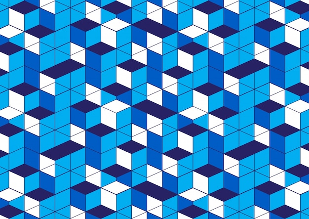 Geometric pattern blue white background
