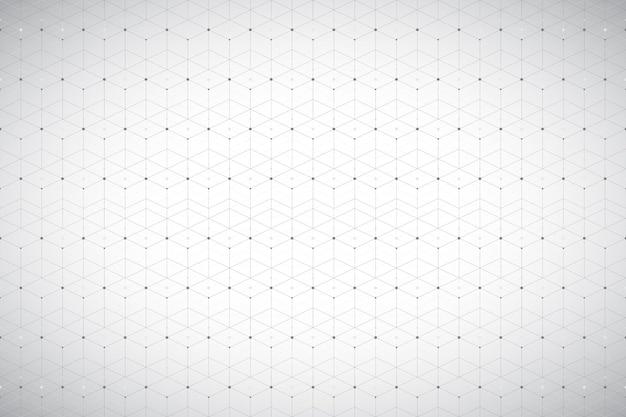 연결된 선과 점이 있는 기하학적 패턴입니다. 회색 그래픽 배경 연결. 디자인을 위한 현대적인 세련된 다각형 배경입니다. 벡터 일러스트 레이 션.