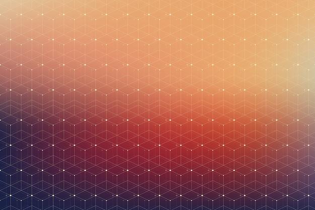 接続されたラインとドットの幾何学模様。グラフィックの背景接続。あなたのデザインのためのモダンでスタイリッシュな多角形の背景通信コンパウンド。神経叢の線。図。