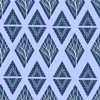 Geometric pattern with triangles and rhombuses in blue. .