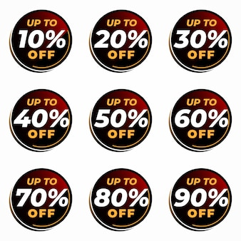 Geometric percentage discount set vector template
