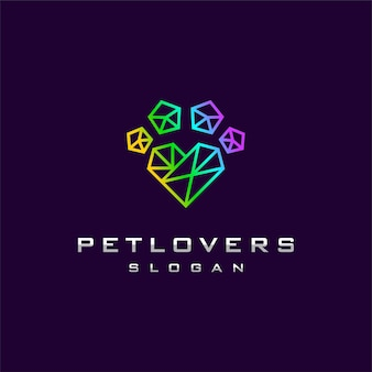 Geometric pet logo with foot and love concept