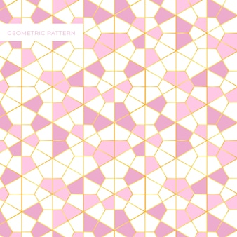 Geometric pink and golden pattern design