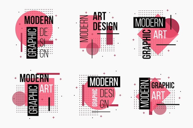 Geometric pink graphic design labels