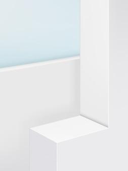 Geometric platform product display background, pastel color. portrait.