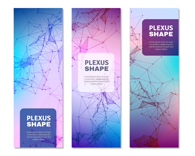 Geometric plexus shapes vertical banners