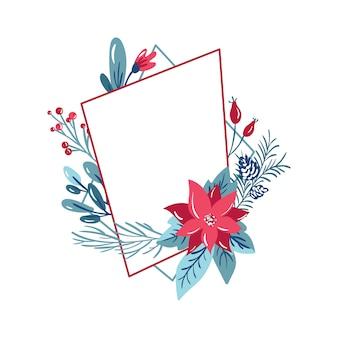 Geometric polygon frame with flowers