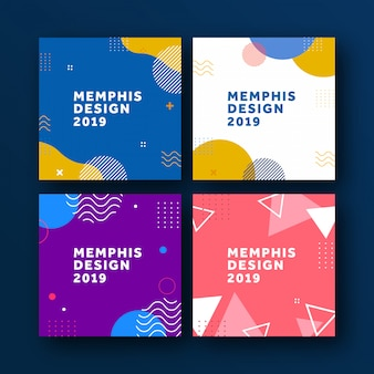 Geometric poster memphis background
