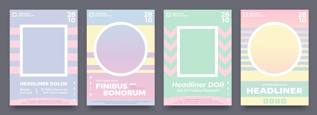 Geometric poster set in pastel summer colors, 4 different flyer, invitation design for event or music concert. purple, blue, light green and orange poster template with place for your photo or image.
