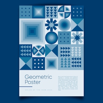 Geometric poster with classic blue color of the year