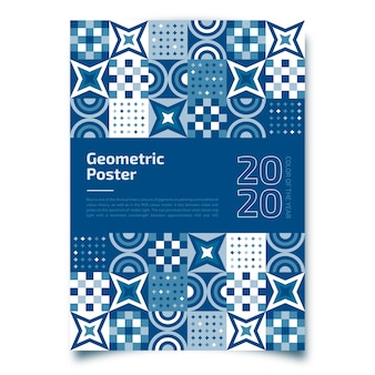 Geometric poster with classic blue template