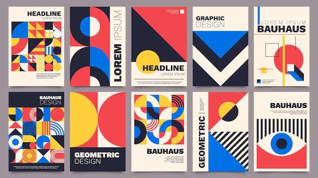 Geometric posters. bauhaus cover templates with abstract geometry. retro architecture minimal shapes, forms, lines and eye design vector set. magazine, journal or album creative art cover
