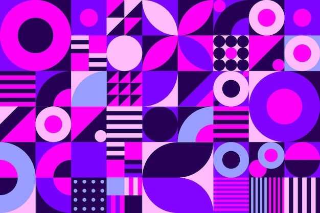 Geometric purple mural wallpaper