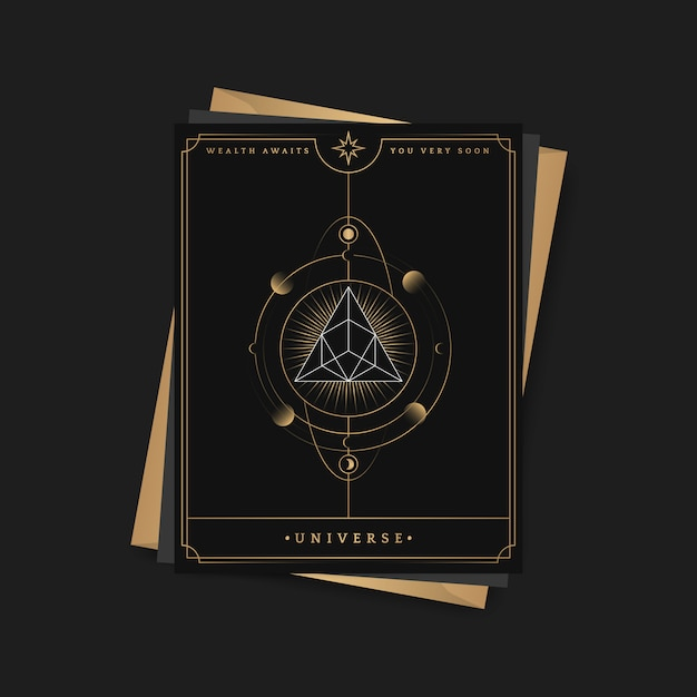 Geometric pyramid astrological tarot card