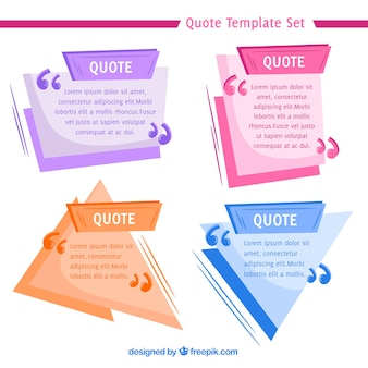 Geometric quote templates with flat design