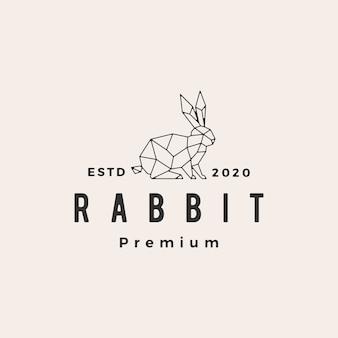 Геометрический кролик заяц кролик битник старинный логотип значок иллюстрации