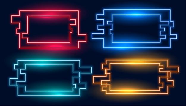 Набор геометрических прямоугольных неоновых рамок в четырех цветах
