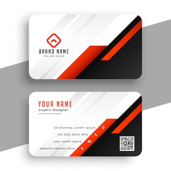 Geometric red business card template professional