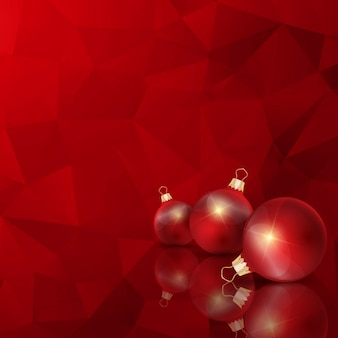 Geometric red chistmas background with balls