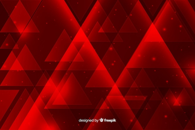 Geometric red lights background with triangles