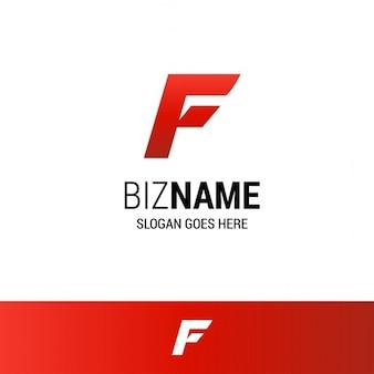 文字fとの幾何学的な赤のロゴ