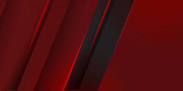 黒のストライプの背景を持つ幾何学的な赤い素材