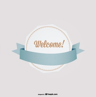 Geometric Retro Badge with Ribbon and Welcome Message
