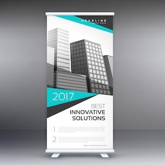 現代のビジネスロールアップ青とグレーの形状の立ち見客バナーコンセプトデザイン