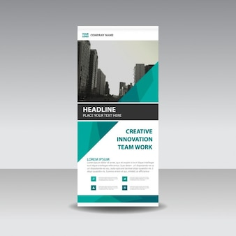 Verde creativo poligonale roll up banner template