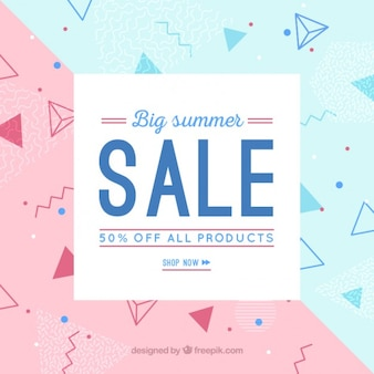 Geometric sale background with shapes